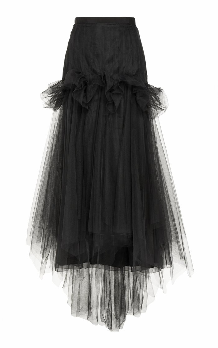 Pleated Tulle A-Line Skirt