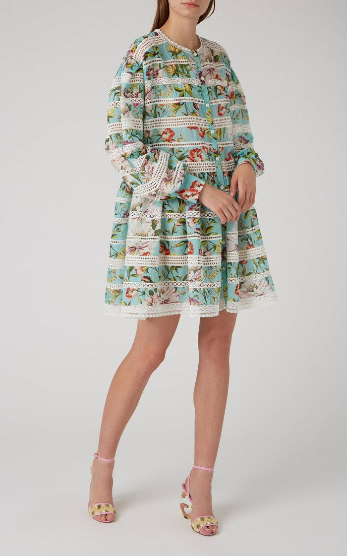 Broderie-Anglaise Trimmed Cotton Mini Dress