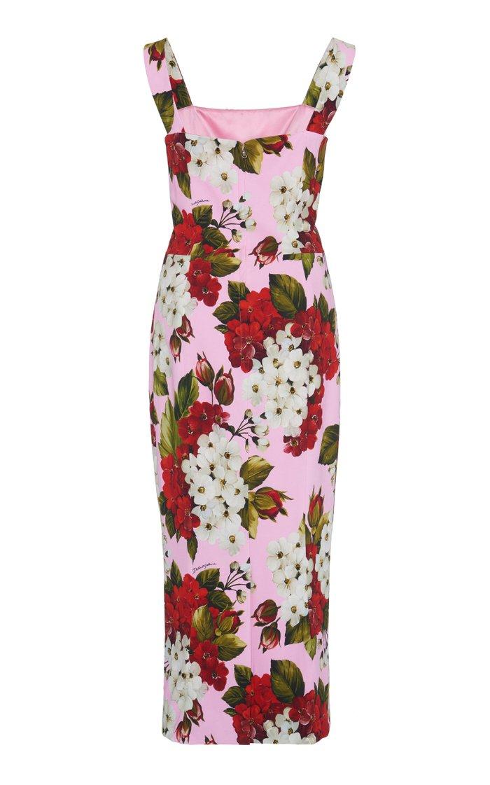 Floral-Print Stretch-Crepe Midi Dress