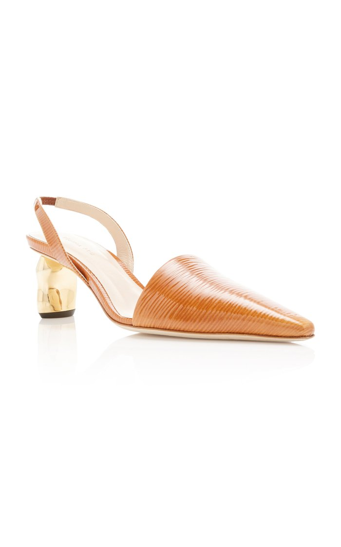 Conie Textured Leather Slingback Pumps