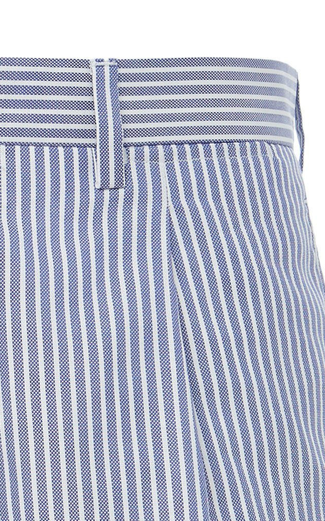 Pleated Striped Cotton Oxford Shorts
