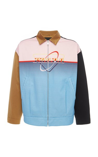 Logo-Print Colorblock Cotton Jacket