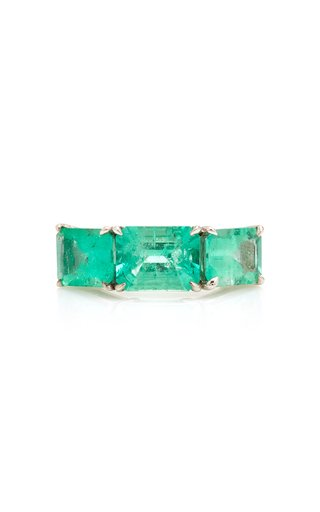18K White Gold And Emerald Ring