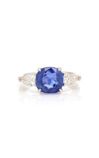 18K White Gold, Sapphire And Diamond Ring