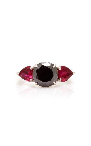 18K White Gold, Black Diamond And Ruby Ring