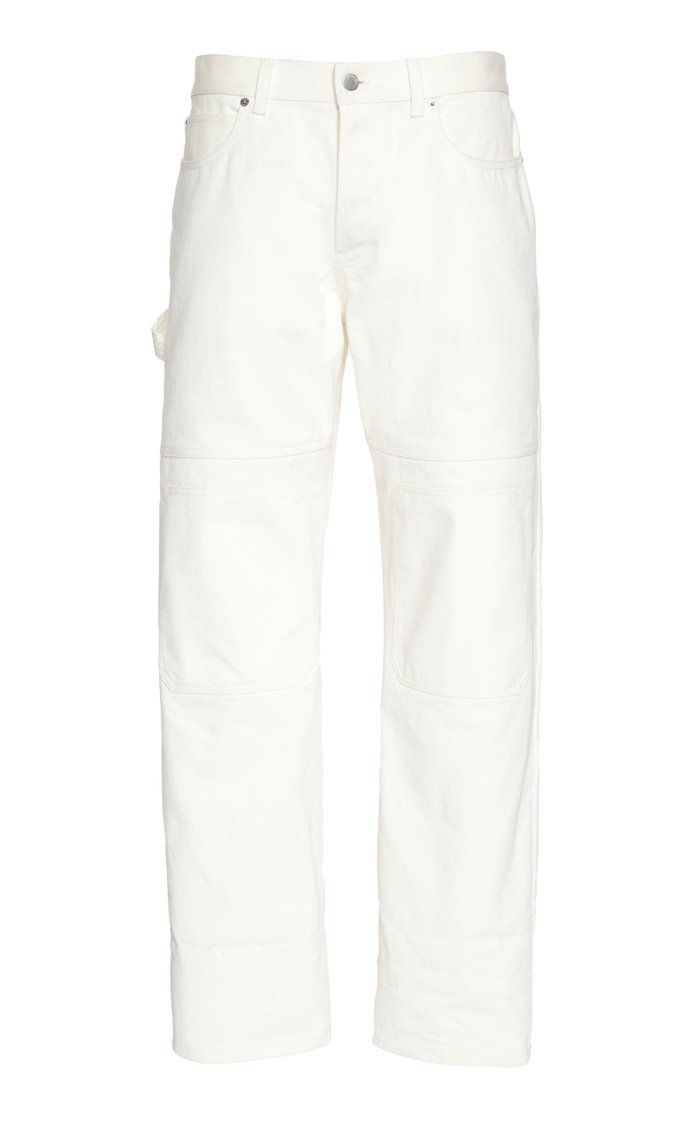 Paneled Rigid Denim Straight-Leg Jeans