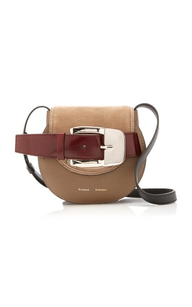 Buckled Textured-Leather And Suede Bag
