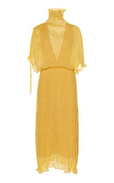 Santorini Sheer Plissé Midi Dress