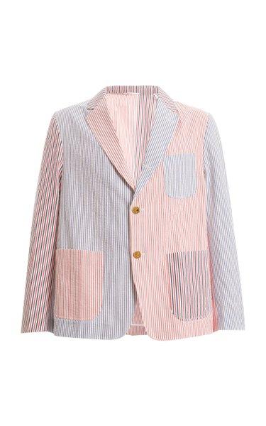 Striped Cotton-Seersucker Blazer