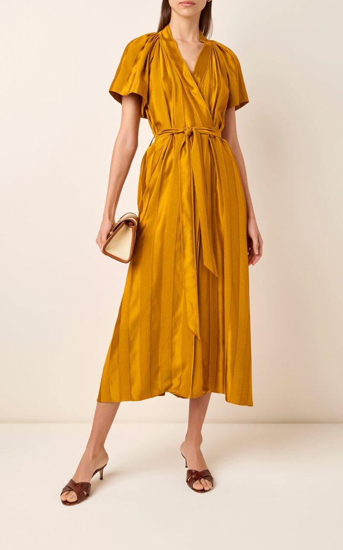 Tonal-Striped Satin Wrap Midi Dress