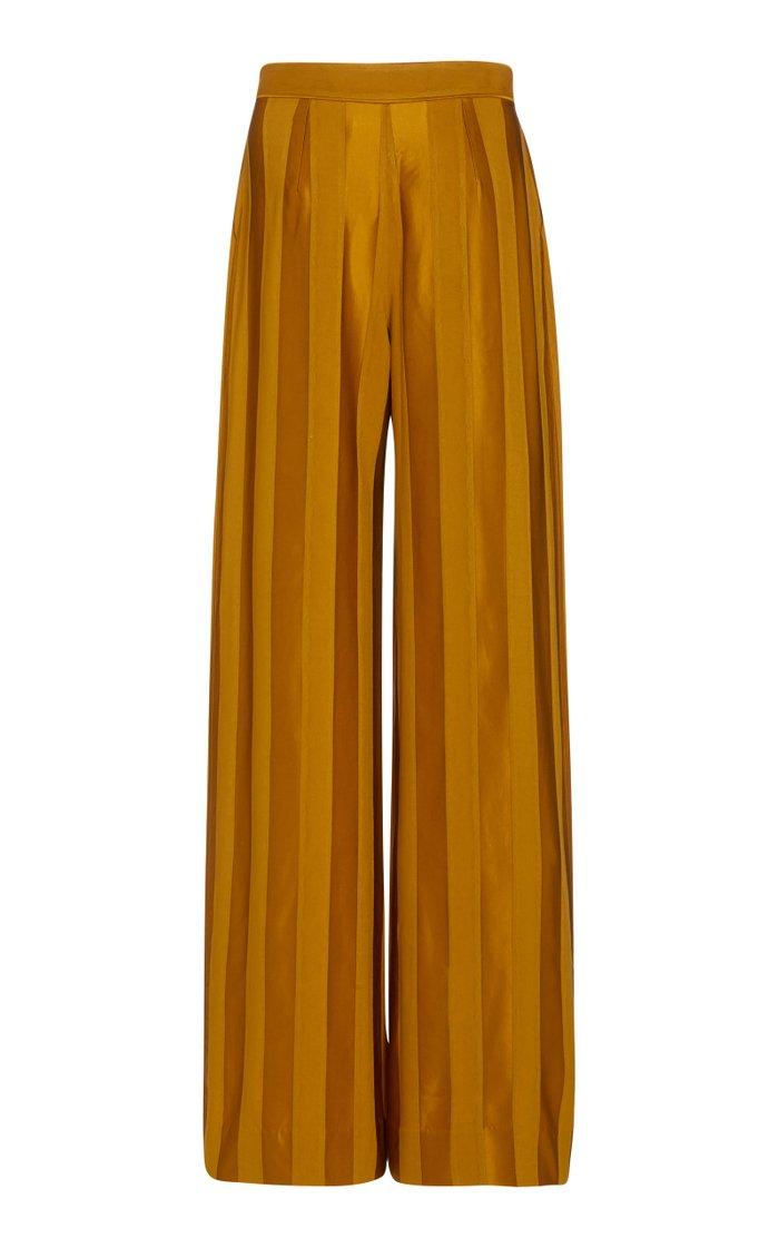 Tonal-Striped Satin Wide-Leg Trousers