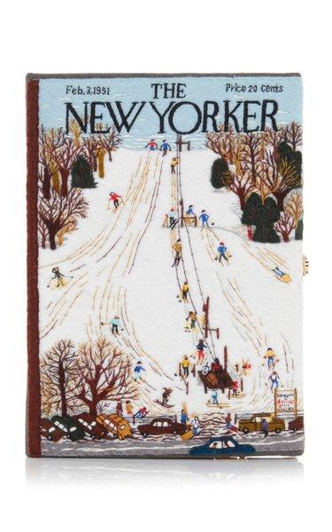 Ski Resort Appliquéd Embroidered Canvas Clutch