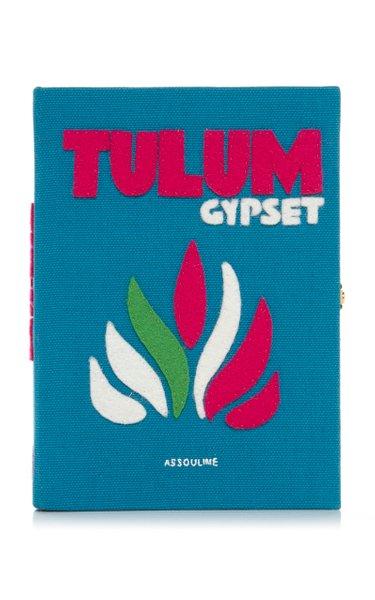Tulum Appliquéd Embroidered Canvas Clutch