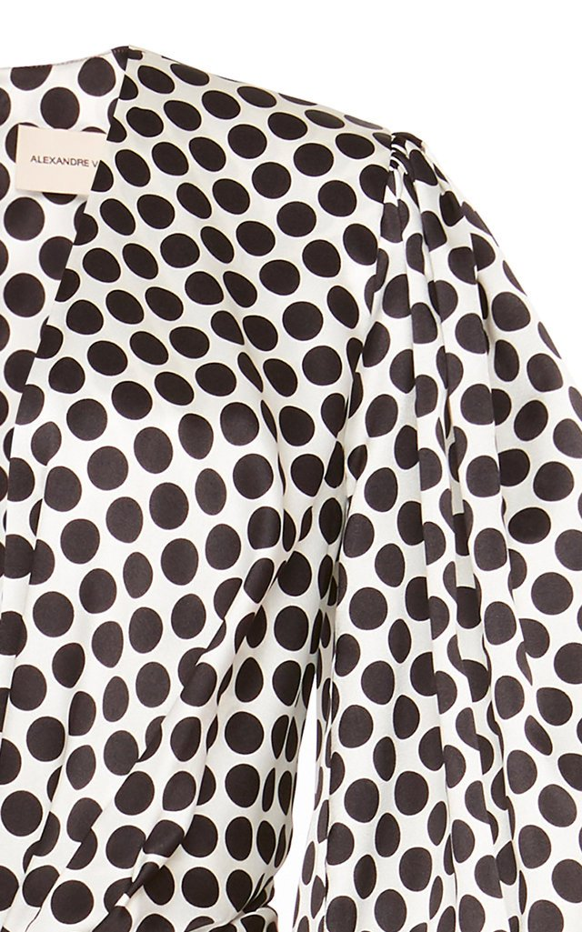 Gathered Polka-Dot Silk-Blend Mini Dress