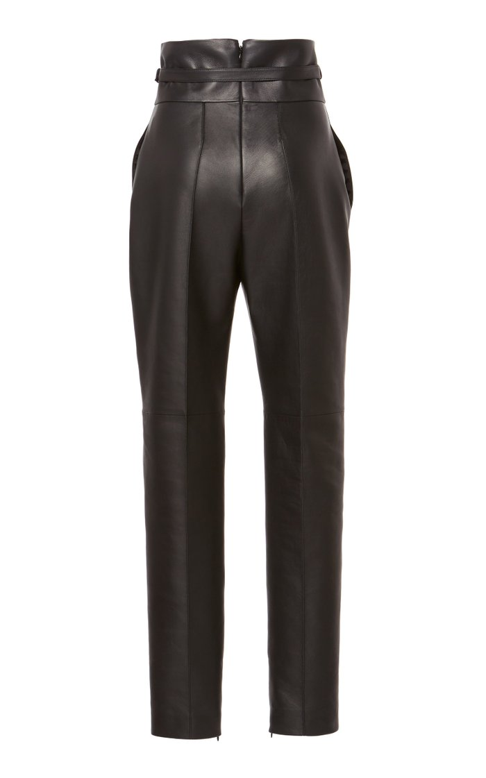 Belted Leather Straight-Leg Pants