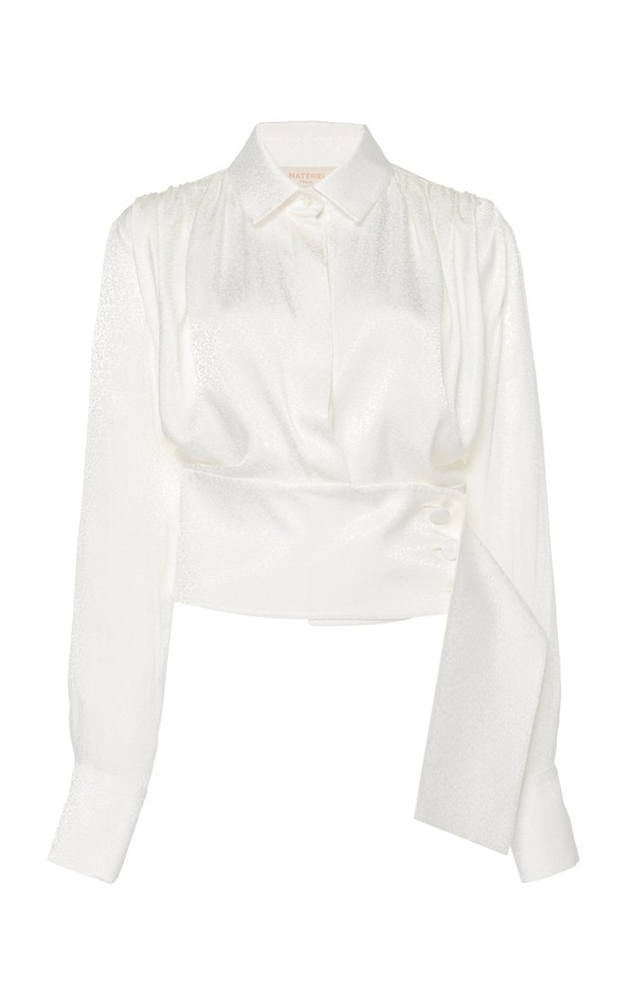 Cropped Belted Woven Blouse