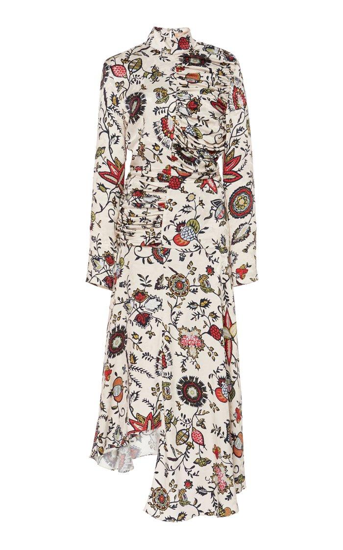 Floral-Print Cupro Turtleneck Dress
