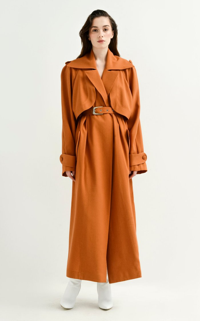 Oversized Belted Viscose Trench Coat