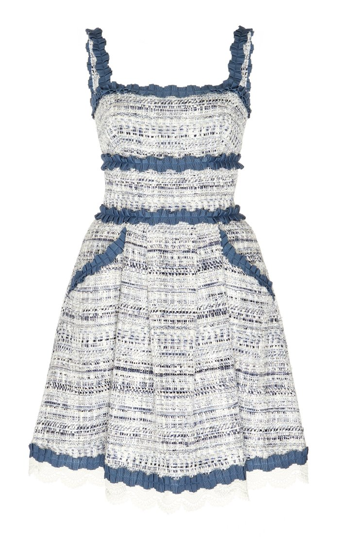 Asturias Broderie Anglaise-Trimmed Tweed Dress