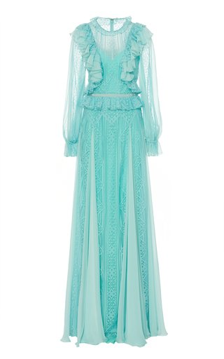 Andalusia Ruffle-Trimmed Tulle Gown