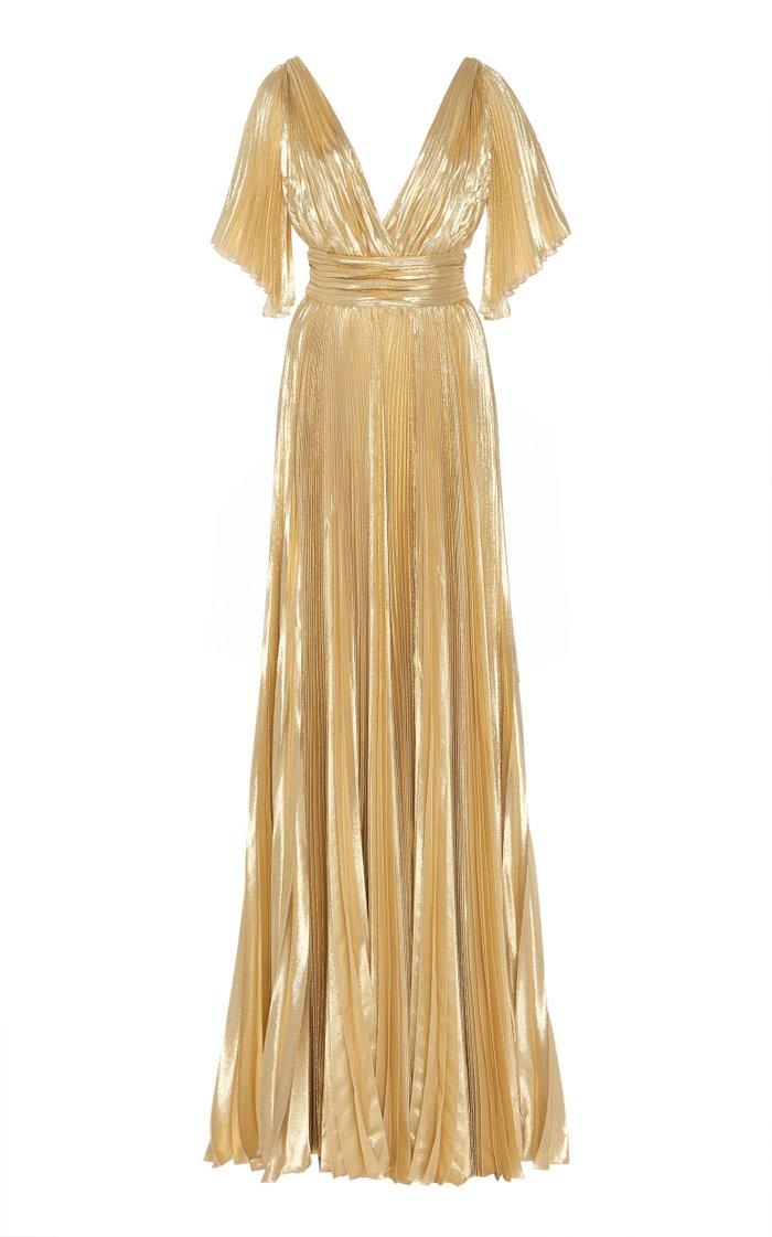 Azdorado Plissé Silk-Blend Gown