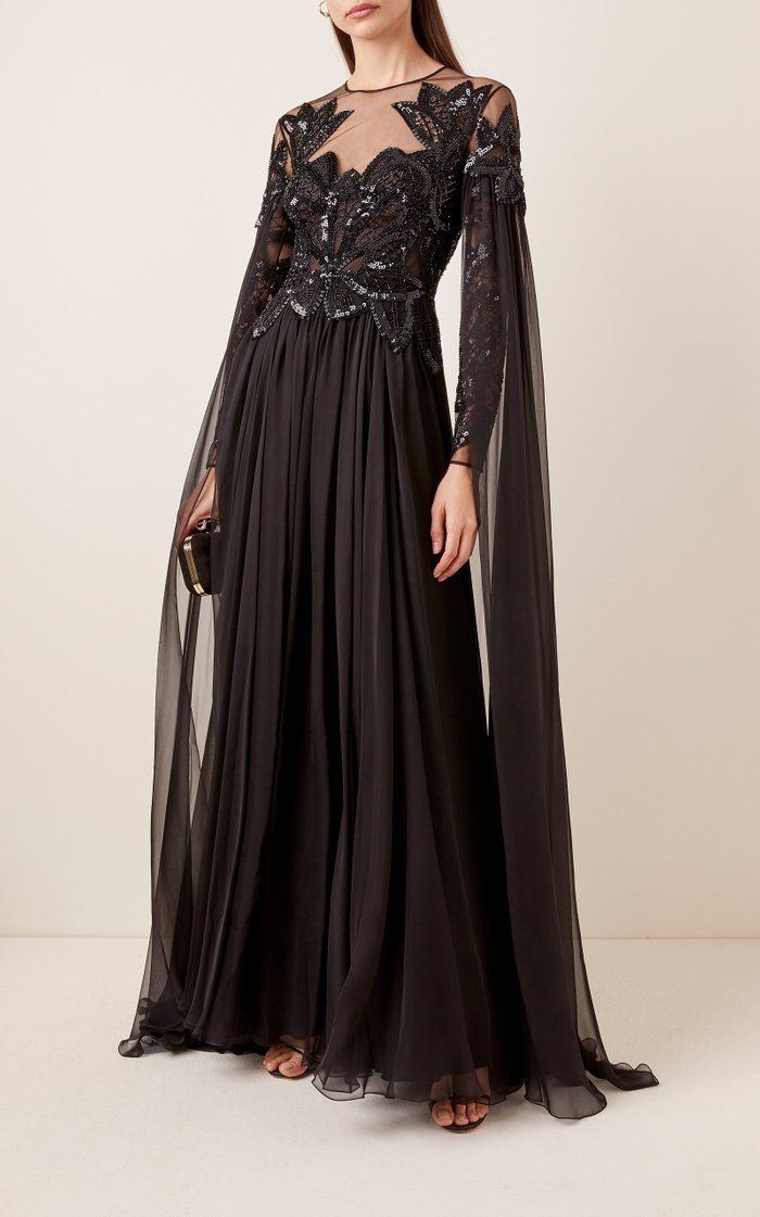 Pamplona Cape-Effect Embroidered Silk-Chiffon Gown