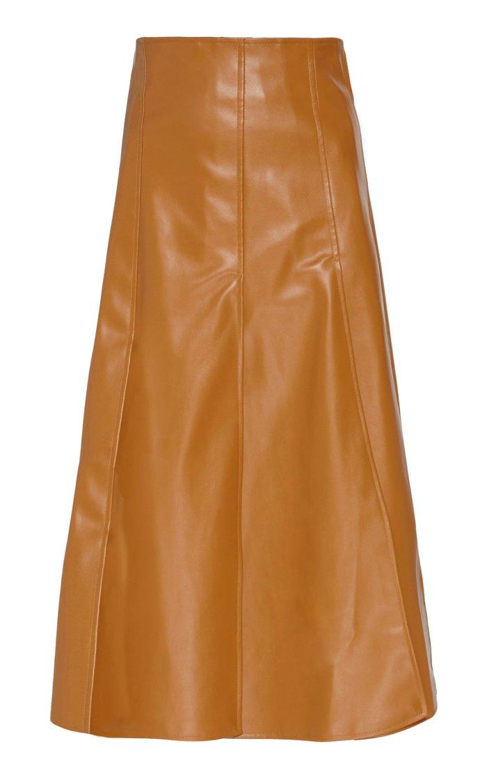 Paneled Faux-Leather Knee-Length Skirt