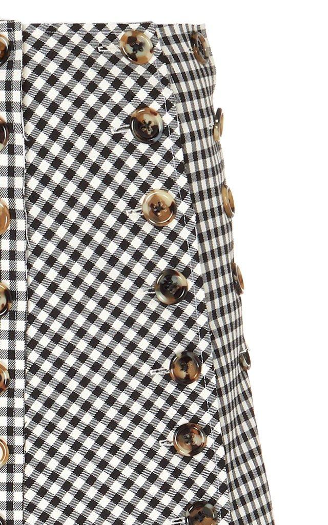 Gingham Paneled Woven-Cotton Maxi Skirt