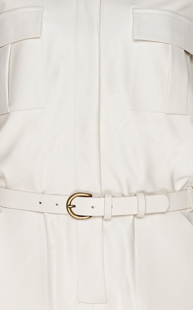 Belted Leather Utility Jumpsuit