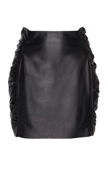 Ruched Leather Mini Skirt