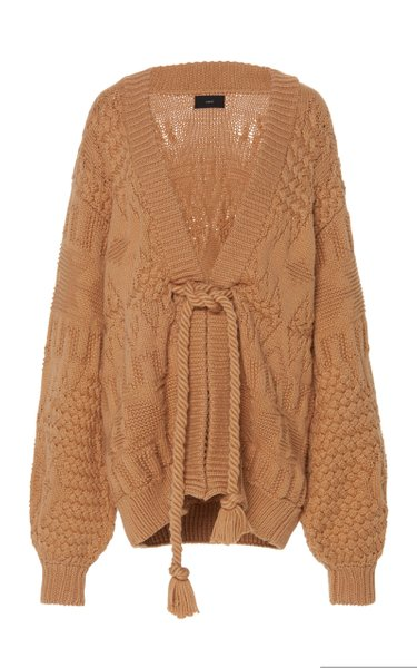 Rope Belted Cotton-Blend Cardigan