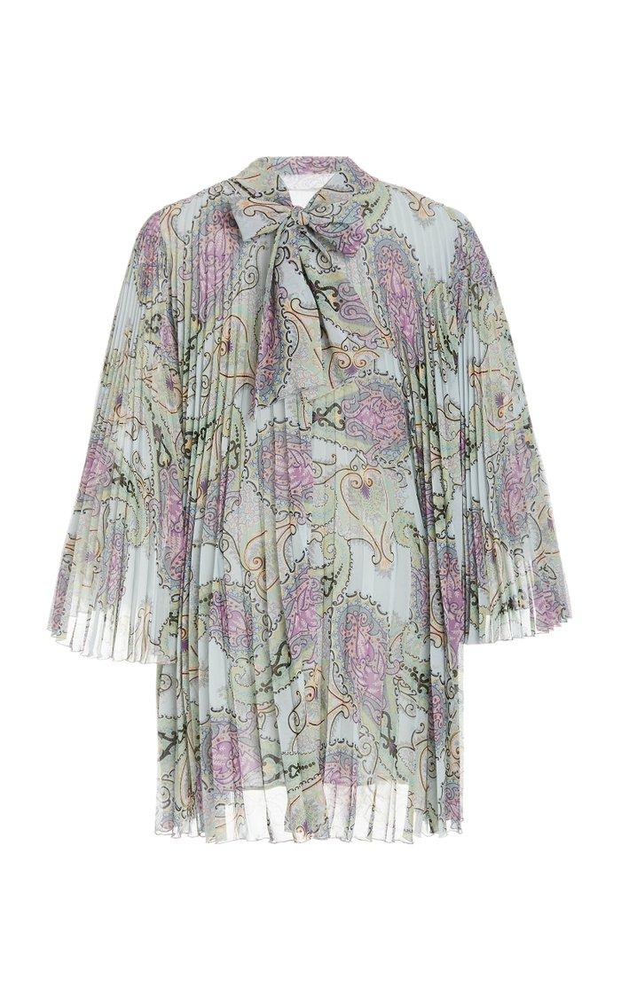 Patterned Plissé-Georgette Mini Dress