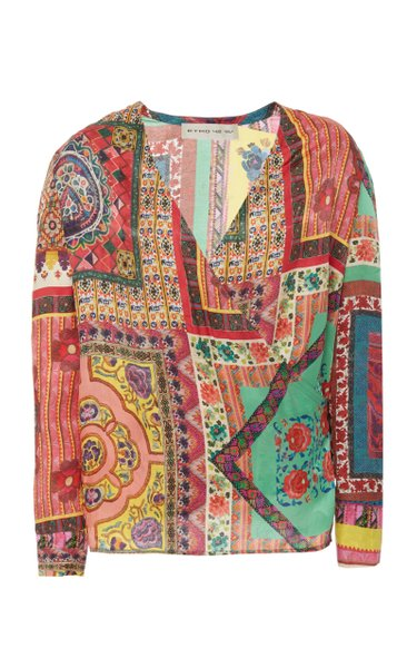 Printed Cotton-Silk Wrap-Front Top
