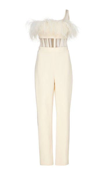Feathered One-Shoulder Stretch-Crepe Jumpsuit