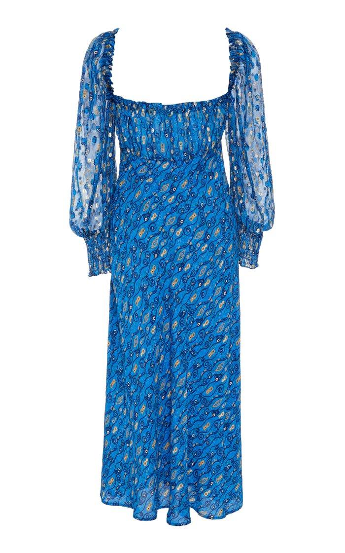 Miriam Printed Silk-Blend Chiffon Midi Dress