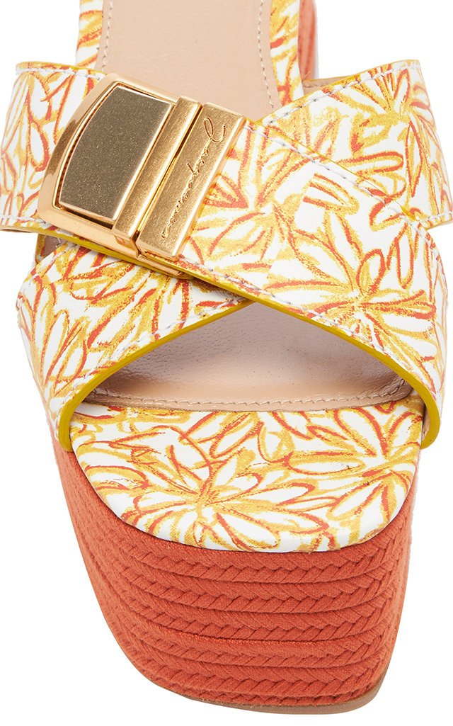 Tatanes Floral-Print Leather Platform Sandals