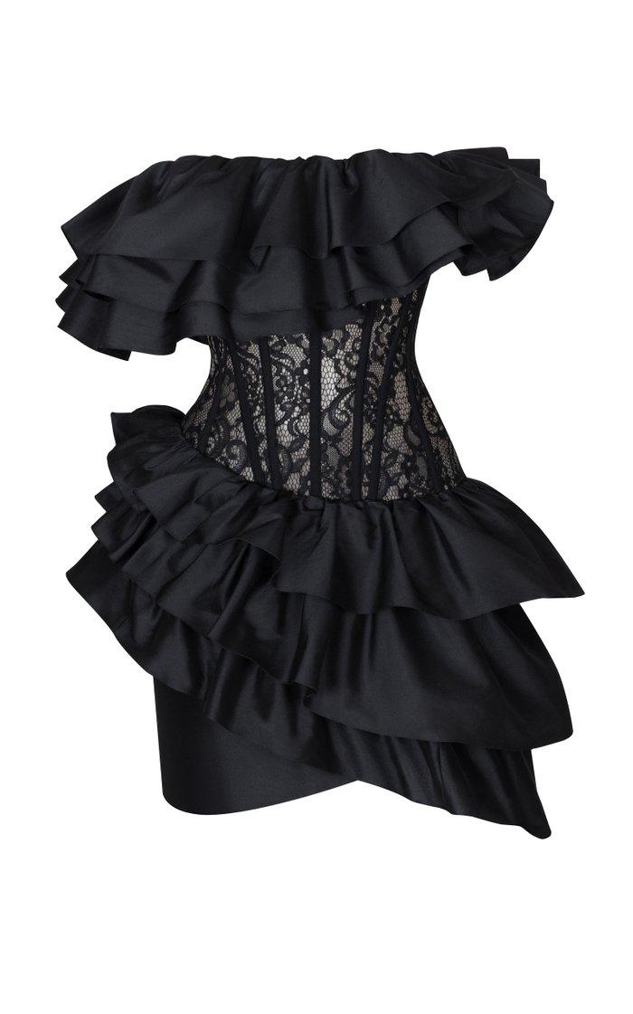 Ruffled Silk And Lace Corset Mini Dress