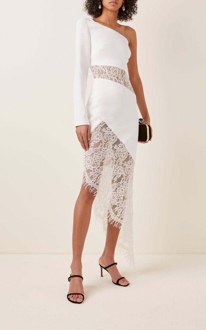 One-Shoulder Crepe And Lace Midi Dress