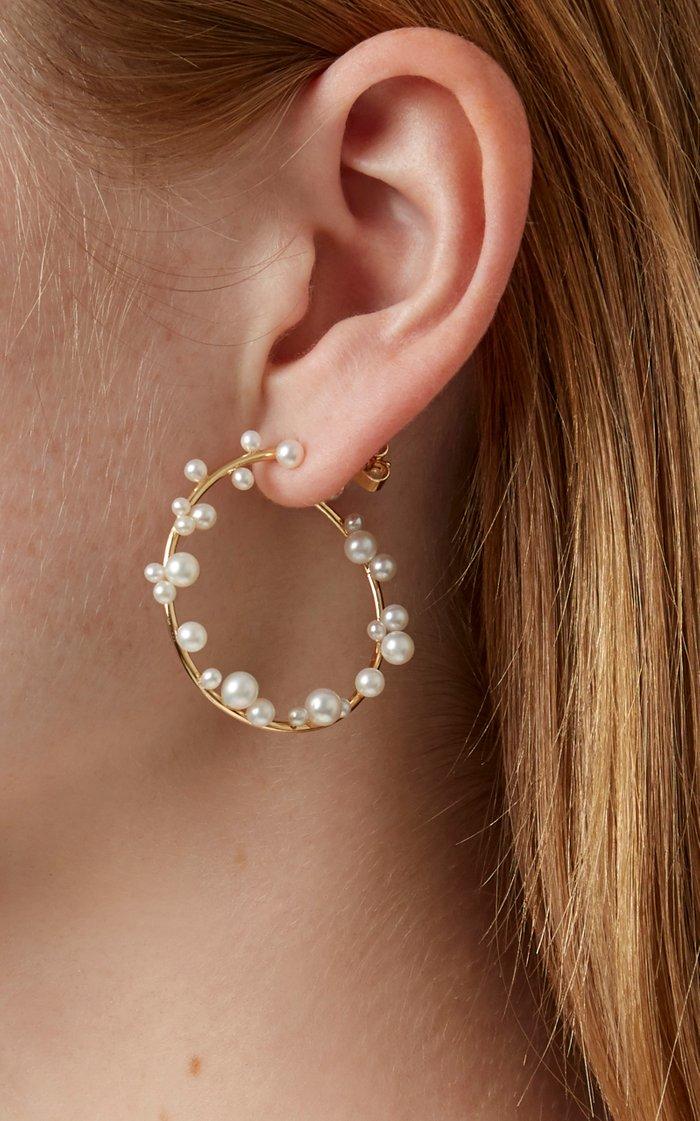 Orb 18K Gold and Pearl Hoop Earrings