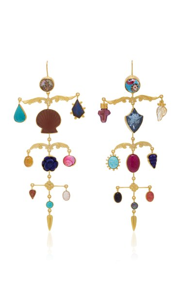 Ornamental Scroll Gold-Plated And Multi-Stone Earrings