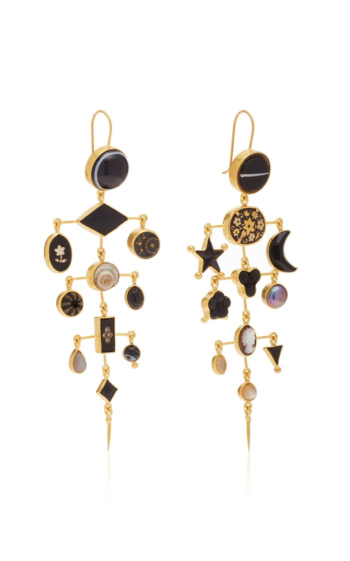 Gold-Plated And Multi-Stone Earrings