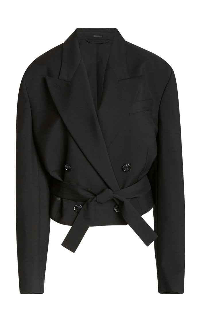 Josie Oversized Cropped Wool-Mohair Double-Breasted Blazer