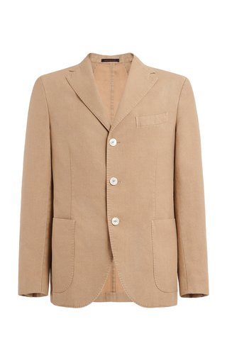 Single-Breasted Flax-Blend Blazer