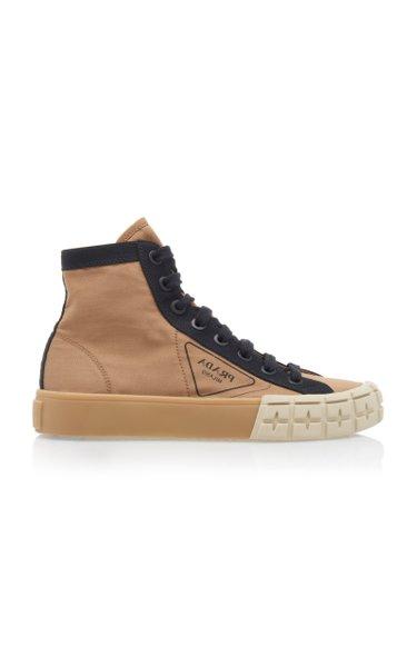 Two-Tone Gabardine High Top Sneakers