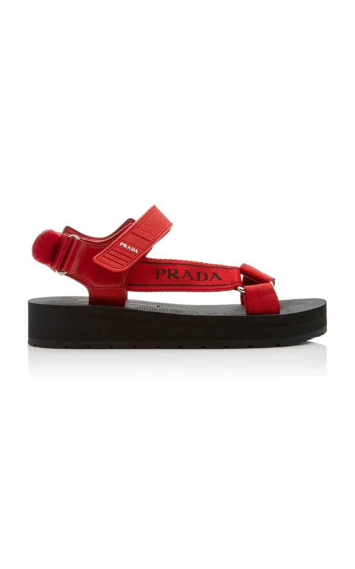 Canvas-Jacquard And Rubber Sandals