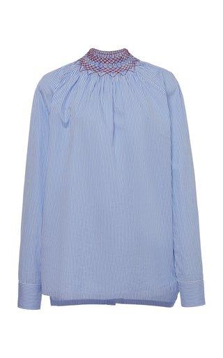 Embroidered Smocked Cotton-Poplin Shirt