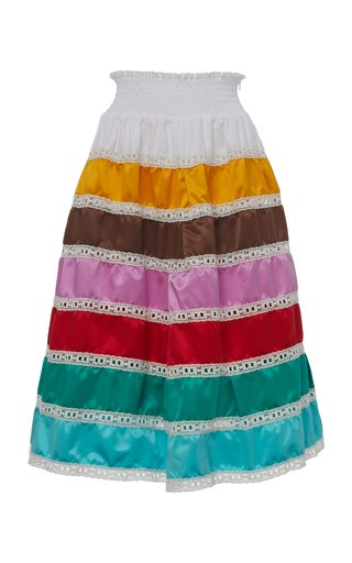 Tiered Silk Skirt