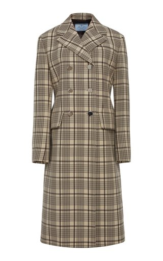 Double-Breasted Checked Wool Coat