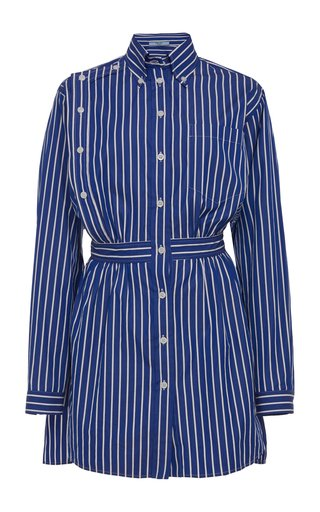 Belted Striped Cotton Button Down Shirt