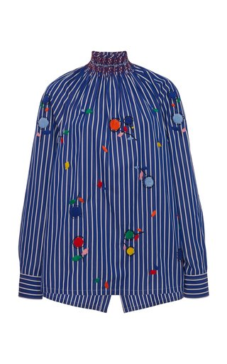 Embroidered Cotton Smocked Top